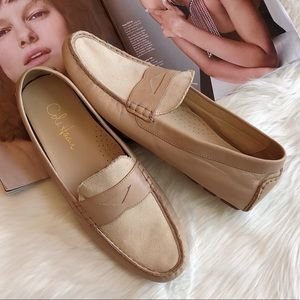 Cole Haan Beige Leather Canvas Driving Flats 10B